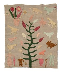 "Granny Donaldson ""cow blanket"", hand dyed and spun wool, crocheted motifs applied to hand woven wool panel, central tree with animals in sky, Kate Clayton (Granny) Donaldson (1864-1960), Brasstown, Jackson County, North Carolina"
