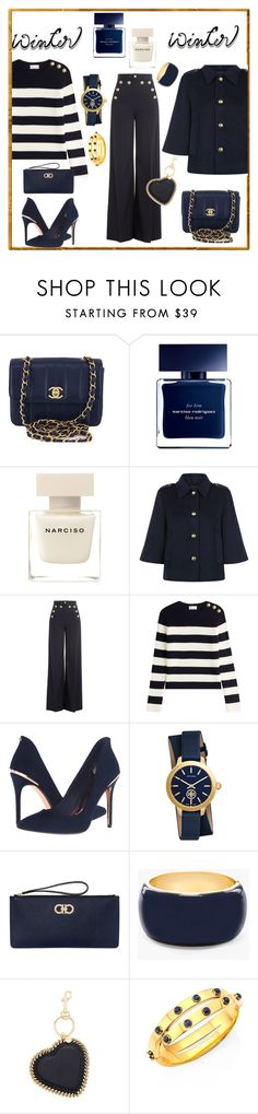 """Into Navy"" by ellenfischerbeauty ❤ liked on Polyvore featuring Chanel, Narciso Rodriguez, RED Valentino, Ted Baker, Tory Burch, Salvatore Ferragamo, Chico's, STELLA McCARTNEY and wintersweater"