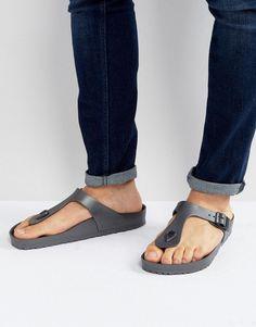 2520ba136d7 Birkenstock Gizeh Eva Metallic Sandals in Anthracite - Gray