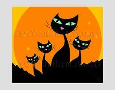 Halloween Cats Pattern Halloween Cross by NewYorkNeedleworks, $8.50