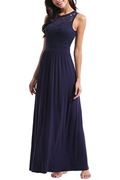 a45d1ab4e7 Zattcas Womens Casual Sleeveless Vintage Floral Lace Party Bridesmaid  Wedding Maxi Dress (XX-Large