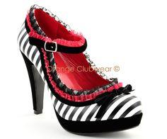 Mary Jane High Heels | Pinup Womens Rockabilly Striped Mary Janes High Heels | eBay