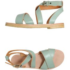 L' AUTRE CHOSE Sandals (215 BRL) ❤ liked on Polyvore featuring shoes, sandals, flats, footwear, light green, real leather shoes, round toe flats, leather flats, leather shoes and flat pump shoes