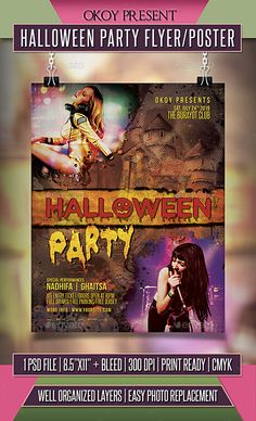 204 best halloween party flyer images on pinterest flyer template