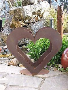 Details Zu Herz Aus Metall   Holz Regal   Edel Rost   Garten Terrasse   Deko    TOLL