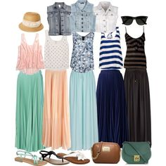 Maxi Skirt Inspiration, spring & summer #outfit ideas... if only i could pull off high waisted.... curse you HIPS.