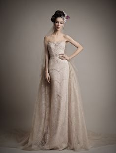 Blush Wedding Dress with detachable skirt The 2015 Bridal Collection from Ersa Atelier Brimming With Grandeur and Elegance