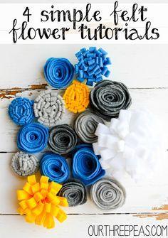 4 Simple Felt Flowers - Our Three Peas