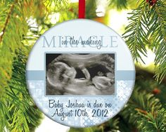 OMG!!! WHY DIDN'T I SEE THIS before Christmas!!!??? Expecting A Baby Boy Ornament Miracle in by TheOneStopButtonShop, $12.00
