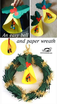 An DIY easy bell and paper wreath - paper craft for kids Diy Paper Christmas Tree, Christmas Crafts For Kids, Christmas Activities, Christmas Projects, Kids Christmas, Holiday Crafts, Christmas Wreaths, Christmas Decorations, 242