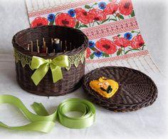 Thread organizer Wicker round box Woven box for от FloraFantasyIZ