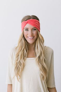 Women's Solid Jersey Turban Hair Band, Headband, or Head Wrap with Twisted Center and Finished Edge for Women and Girls in Melon on Etsy, $18.00