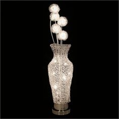 Woven Wire Metal Vase Lamp with Flowers