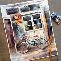 Watercolor paintings by Mayorova Anna - Resim Burada 3 Sketch Painting, Watercolor Artwork, Watercolor Illustration, Art Sketches, Art Drawings, Guache, Art Design, Aesthetic Art, Art Inspo