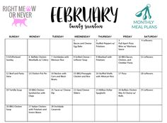 Monthly Meal Plan; February