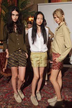 Girls in wallabees and Belgian's at John Patrick Organic. Silk shorts in menzish silks with menzish wallabees = so dope.