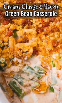 Cream Cheese and Bacon Green Bean Casserole is a holiday side dish recipe made with Lipton onion soup mix and topped with Ritz cracker crumbs, French's fried onions and crumbled bacon. Green Bean Casserole Bacon, Vegetable Casserole, Vegetarian Casserole, Vegan Recipes Easy, Diet Recipes, Cooking Recipes, Kitchen Recipes, Pasta Recipes, Holiday Side Dishes