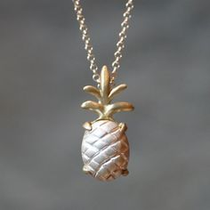 Pineapple Pendant Necklace in Sterling Silver and Brass