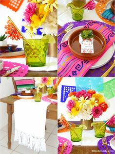 @birdsparty.com did an amazing job styling our Mexican Fiesta goodies! Check out our paper placemats, papel picado banners, napkins and table runners.