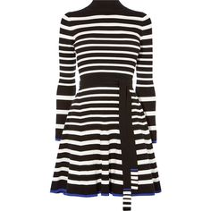 Karen Millen Stripe Knit Skater Dress ($225) ❤ liked on Polyvore featuring dresses, mini skater dress, skater dresses, mini dress, fitted dress and high neck dress