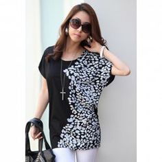 $5.63 Fashion Style Round Neck Short Sleeve Loose Fit Printed Summer T-Shirt For Women