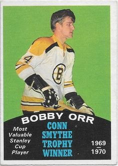O-Pee-Chee Bobby Orr Conn Smythe Trophy Winner - Most Valuable Stanley Cup Player Stanley Cup Trophy, Hockey Cards, Baseball Cards, Hockey Hall Of Fame, Hockey Pictures, Bobby Orr, Boston Bruins Hockey, Hockey World