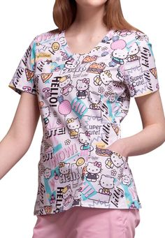 The Cherokee Tooniforms Hello Supercute Print Scrub Top features a cute Hello Kitty print. Shop for yours at Scrubs & Beyond. Cute Nursing Scrubs, Landau Scrubs, Scrub Shop, Cherokee Woman, Scrubs Uniform, Medical Scrubs, Nurse Scrubs, Scrub Jackets, Work Attire
