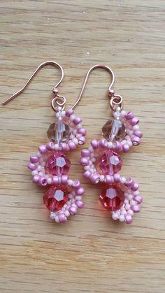 Whirlygig Earrings in Pinks - made by Jennifer Ehrichs, design by Jill Wiseman