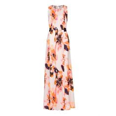 Floral Print Gown ($195) ❤ liked on Polyvore