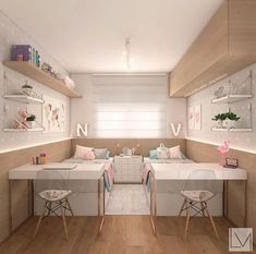 The Best in Teen Bedroom Design and Decor! The Best in Teen Bedroom Design and Decor! Teen Bedroom Designs, Cute Bedroom Ideas, Cute Room Decor, Girls Bedroom Decorating, Wall Decor, Twin Girl Bedrooms, Shared Bedrooms, Girls Bedroom Pink, Boy And Girl Shared Bedroom