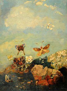 Odilon Redon ~ Butterflies, c.1910