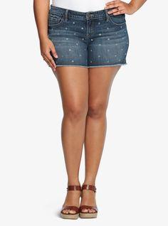 Torrid Skinny Short Shorts - Medium Wash with Gemstones | Torrid