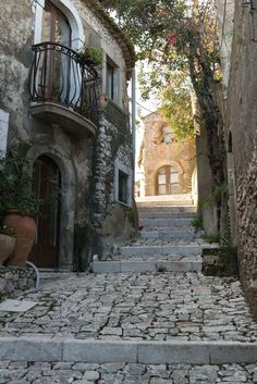 Old Street in Forza d'Agro, Sicily, Italy Beautiful Streets, Beautiful Places To Visit, Oh The Places You'll Go, Medieval Village, Sicily Italy, Venice Italy, Toscana Italy, Sorrento Italy, Verona Italy