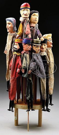 SET OF ELEVEN PUNCH AND JUDY HAND PUPPETS. Puppet Costume, Marionette Puppet, Antique Toys, Vintage Toys, Vintage Carnival Games, James Ensor, Victorian Toys, Punch And Judy, Toy Theatre