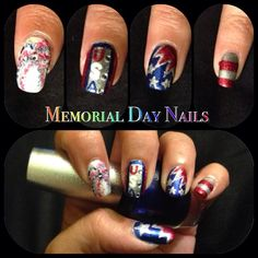 Memorial Day / 4th of July nail art check out www.ThePolishObsessed.com for more nail art ideas.