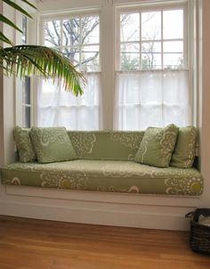 Make-your-own cushions window bench with sheer curtains