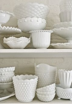 white dishes - hob nail milk glass
