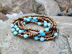 Turquoise Blue and Bronze  Boho Style Beaded Stretch by Angelof2, $25.00