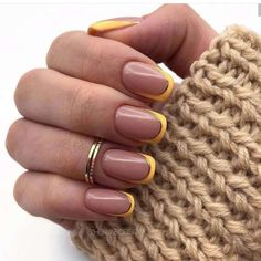 Sweater Nails Design Rings Brown French Square Nails + Khaki Sweater Sweater weather takes on new meaning with this cozy-chic nail trend. Minimalist Nails, Cute Nail Designs, Acrylic Nail Designs, Acrylic Art, French Nails, French Manicures, Color French Manicure, Gel Nagel Design, Yellow Nail Art