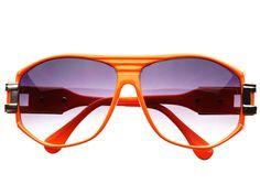 80's Retro Square Aviator Sunglasses Orange A665