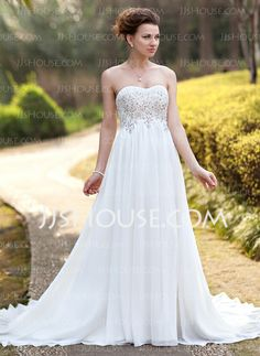 Empire Sweetheart Court Train Chiffon Wedding Dress With Ruffle Lace Beadwork (002012793) http://jjshouse.com/Empire-Sweetheart-Court-Train-Chiffon-Wedding-Dress-With-Ruffle-Lace-Beadwork-002012793-g12793
