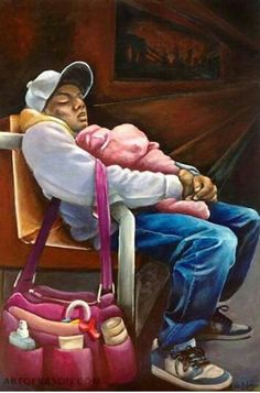 Original Children Painting by Ka-son Reeves African American Artwork, African Art, American Artists, Arte Black, Black Fathers, Black Art Pictures, Drawn Art, Black Girl Art, Black Artwork