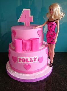 Barbie pink tiered bow birthday cake