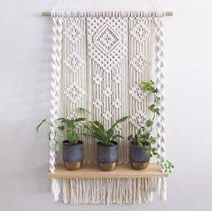 Hanging Rope Shelves, Macrame Wall Hanging Patterns, Plant Shelves, Macrame Patterns, Tapestry Wall Hanging, Macrame Wall Hanger, Macrame Wall Hangings, Macrame Mirror, Hanging Plant Wall