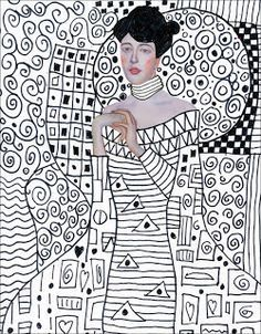 Projetos de Arte para Crianças: Template Klimt, baixar gratis. Basta imprimir e adicionar seus próprios padrões e desenho.