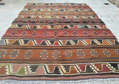 Pillowsstore/5.6x7.9 FT (171x240 cm)VINTAGE Shine Society Handwoven  Turkish  Kilim Rug-Decorative Kilim Rugs-Large Flatwoven Kilim Carpets on Etsy, 2.642,25kr