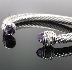 David Yurman 7mm AMETHYST and DIAMONDS Cable Classic Bracelet Bangle Retail $1900