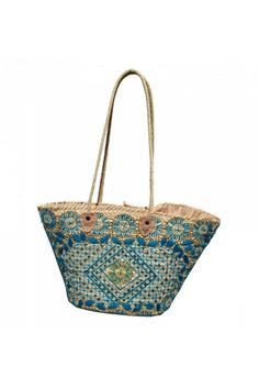 """For the bohemian gal on the go, this sizable carry-all tote is the perfect shape to house all travel essentials. Embroidered texture, metallic sequins, and gold accents provide eye catching allure. This tote easily carries all in its fully lined interior.    Approx. Measures: 19"""" x 11.5"""" x 8.5""""; 17"""" handles   Embroidered Tote Bag by The House of Perna. Bags - Totes Bags - Beach Ready New Jersey"""