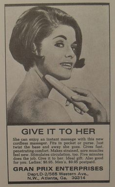1960s Vibrating Massager Vintage Advertisement For Women Vibrator Photo Campy Kitsch Sexy Bawdy by Christian Montone, via Flickr