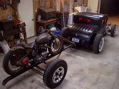 Model A hot rod and Triumph bobber
